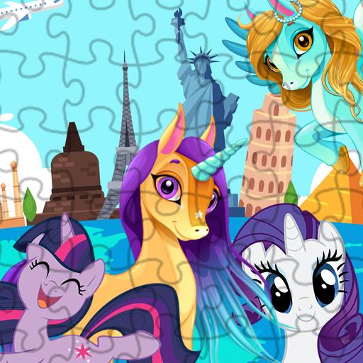Hra - Unicorns Travel the World Puzzle